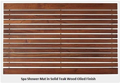 Spa Shower Mat In Solid Teak Wood Oiled Finish