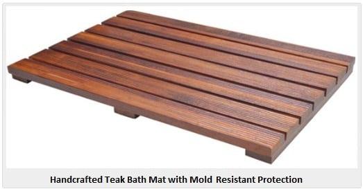 handcrafted teak bath mats