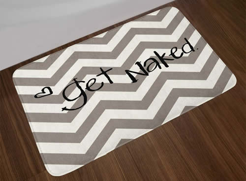 Bath mat with funny sign