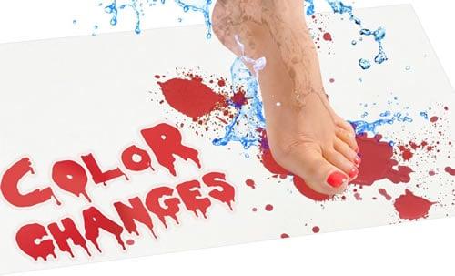 Bath mat that turns blood red when wet